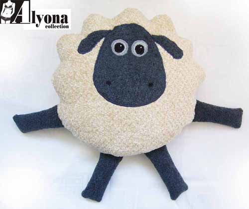 Аппликация из ткани овечка